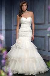 Trumpet Beaded Long Sweetheart Organza Wedding Dress With Criss Cross And Flower