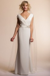 Floor-Length V-Neck Jeweled Cap-Sleeve Chiffon Wedding Dress