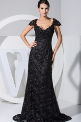Sheath Queen-Anne Plunged Evening Dress with Appliques and Beading