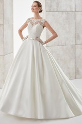 Scalloped-Neck Cap-Sleeve A-Line Satin Wedding Dress With Illusive Design And Brush Train
