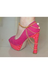 Western Style Fashion Color Beads Tassel Chain High Heels Shoes Anklet