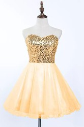 A-line Short Mini Sleeveless Sweetheart Pleats Sequins Tulle Sequins Homecoming Dress