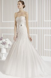 Mermaid Sweetheart Tulle Wedding Dress With Beading And Flower