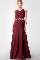 Fabulous Beaded Strap Long Chiffon Dress With Cowl