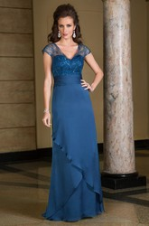 Cap-Sleeved V-Neck Long Mother Of The Bride Dress With Ruffles And Sequins