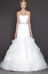 A-Line Strapless Jeweled Tulle Wedding Dress With Ruffles And Lace
