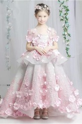Floral Organza Scoop Tier Flower Girl Dress with Lace and Applique