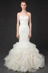 Trumpet Long Sweetheart Tulle&Lace Wedding Dress With Ruffles And Zipper