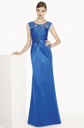 Scoop Neck Cap Sleeve Sheath Satin Long Prom Dress With Removable Jacket