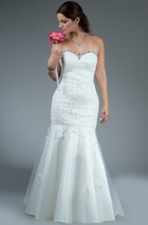 Crystal Sweetheart Trumpet Gown With Lace Top And Tulle Skirt
