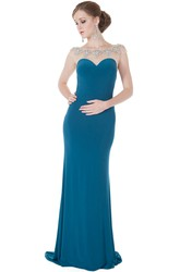 Sheath Bateau-Neck Sleeveless Floor-Length Beaded Jersey Evening Dress