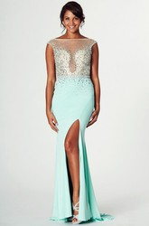 Sleeveless Beaded Bateau Neck Jersey Prom Dress