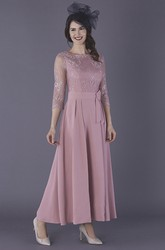 Chiffon Ankle Length 3/4 Illusion Sleeve Mother Of The Bride Dress