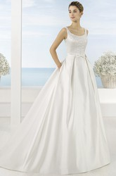 Square Maxi Beaded Satin Wedding Dress With Sweep Train And V Back