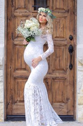 Mermaid Lace Scoop Long Sleeve Pleated Maternity Wedding Dress