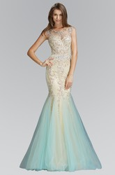 Mermaid Long Scoop-Neck Sleeveless Tulle Illusion Dress With Beading And Pleats
