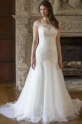 A-Line Scoop-Neck Cap-Sleeve Floor-Length Lace Wedding Dress With V Back