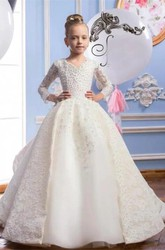 Ball Gown V-neck Laced Beading Tier Flower Girl Dress with Applique