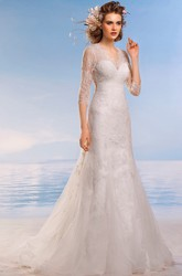 A-Line Floor-Length V-Neck 3-4-Sleeve Keyhole Lace Dress With Appliques