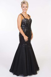 Mermaid Crystal Sleeveless Floor-Length Sequins Prom Dress With Straps