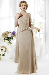 Sleeveless V-Neck Long Mother Of The Bride Dress With Ruffles And Appliques