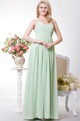 Simple Spaghetti Strap A-line Long Chiffon Dress
