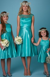A-Line Tea-Length Bateau Neck Appliqued Sleeveless Satin Bridesmaid Dress