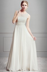 A-Line Lace Floor-Length Scoop-Neck Sleeveless Tulle&Satin Wedding Dress