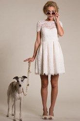 Sheath Short Short-Sleeve High Neck Lace Wedding Dress With Illusion