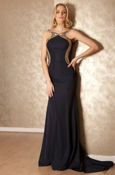 Sheath Floor-Length Scoop Sleeveless Jersey Prom Dress With Backless Style And Sweep Train