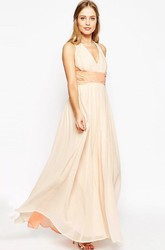 V-Neck Pleated Sleeveless Chiffon Bridesmaid Dress With Straps