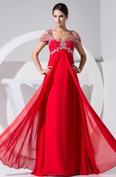 Off Shoulder Empire Chiffon Long Formal Dress With Beading
