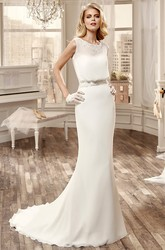 Cap-Sleeve Chiffon Wedding Dress With Appliqued Neckline And Brush Train