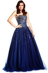 A-Line Crystal Sleeveless Floor-Length Strapless Tulle Prom Dress With Corset Back And Pleats