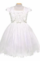 Bolero Mini Bowed Tulle&Satin Flower Girl Dress With Embroidery