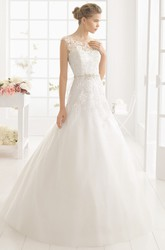 A-Line Cap-Sleeve Scoop-Neck Appliqued Long Tulle&Satin Wedding Dress With Waist Jewellery And Bow