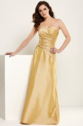 Sweetheart Long Criss-Cross Satin Bridesmaid Dress With V Back