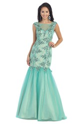 Mermaid Floor-Length Bateau Illusion Dress With Appliques And Sequins
