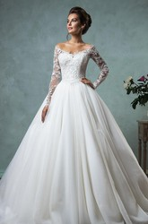 A-Line Ball Gown Empire Mini Jewel V-Neck Long Sleeve Bell Empire Dropped Appliques Court Train Backless Tulle Lace Dress