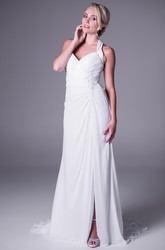 Sheath Maxi Haltered Split-Front Sleeveless Chiffon Wedding Dress With Ruching
