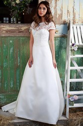 Scoop-Neck Appliqued Short-Sleeve Floor-Length Satin&Lace Wedding Dress