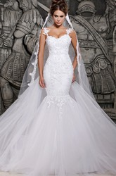 Magnificent Tulle Lace Mermaid Wedding Dress with Wedding Veil