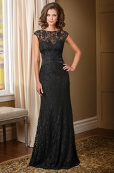 Cap-Sleeved Long Lace Mother Of The Bride Dress With Beadings And V-Back