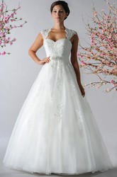 Cap Sleeve A-Line Tulle Bridal Gown With Crystal Sash And Appliques