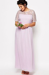 Sheath Short-Sleeve Scoop-Neck Ankle-Length Chiffon Bridesmaid Dress With Sequins