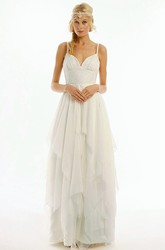 Long Spaghetti Draped Chiffon Wedding Dress With V Back