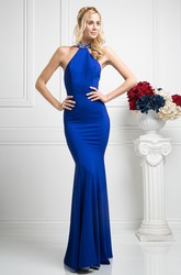Sheath Maxi High Neck Sleeveless Jersey Illusion Dress With Beading