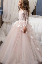Tulle and Lace Bateau Long Sleeves Appliqued Ruched Flower Girl Dress