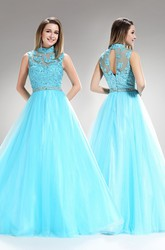 A-Line High Neck Sleeveless Tulle Illusion Dress With Appliques And Beading