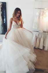 Ball Gown Spaghetti Tulle Open Back Wedding Dress